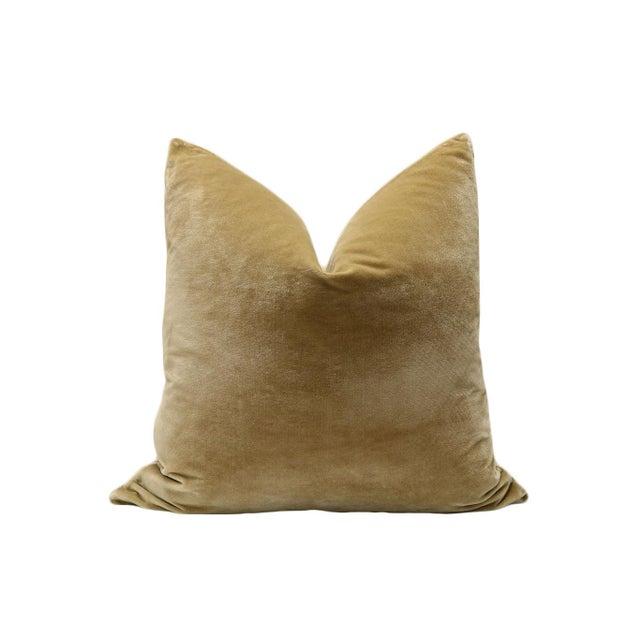 """22"""" Italian Silk Velvet Pillows in Camel - A Pair - Image 2 of 3"""