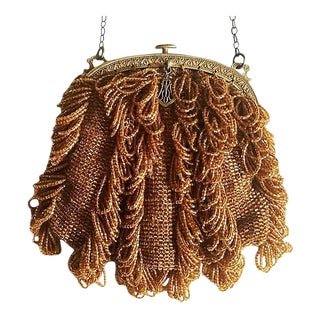 1920s Vintage Topaz Glass Beaded Purse For Sale