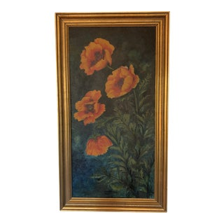 """1940s Vintage """"Orange Poppies"""" Original Signed and Dated Oil on Canvas Painting For Sale"""
