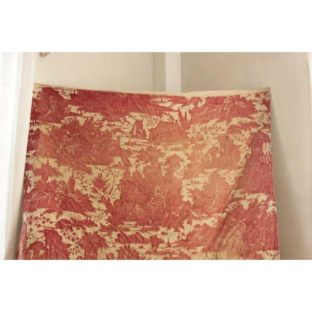 Antique French Toile l'Art d'Aimer Chef De Piece Bordeaux Coverlet For Sale - Image 11 of 12