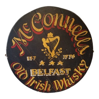 Antique McConnell's Old Irish Whiskey Wooden Round Barrel Lid Sign For Sale
