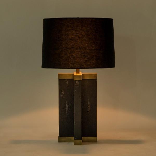 Black shagreen lamp in Light Antique Brass.