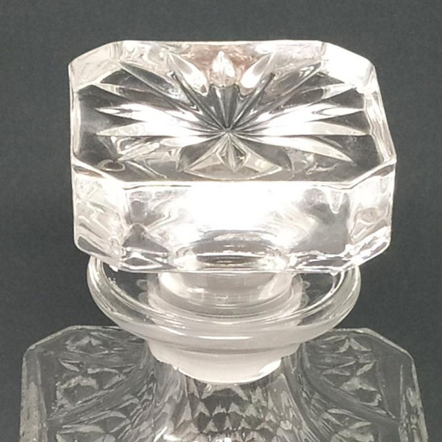 Transparent 1950 Italian Mid Century Vintage Crystal Decanter with 4 Glasses For Sale - Image 8 of 9