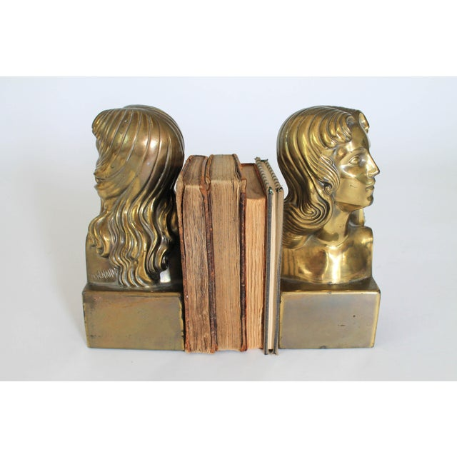 Gold Female Brass Bookends For Sale - Image 8 of 11