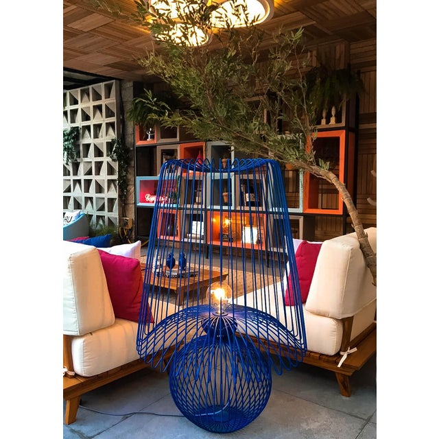 Contemporary Oversized Metal Floor Lamp Koy in Blue For Sale - Image 3 of 5