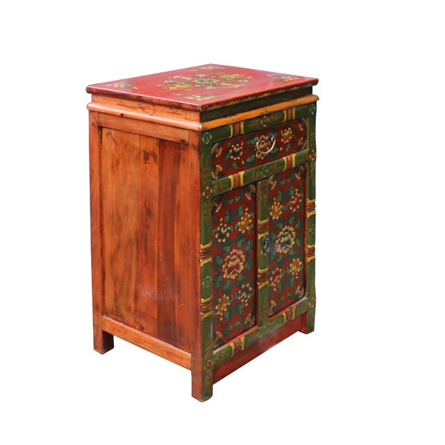 Tibetan Oriental GreenYellow Orange Floral End Table Nightstand For Sale In San Francisco - Image 6 of 8