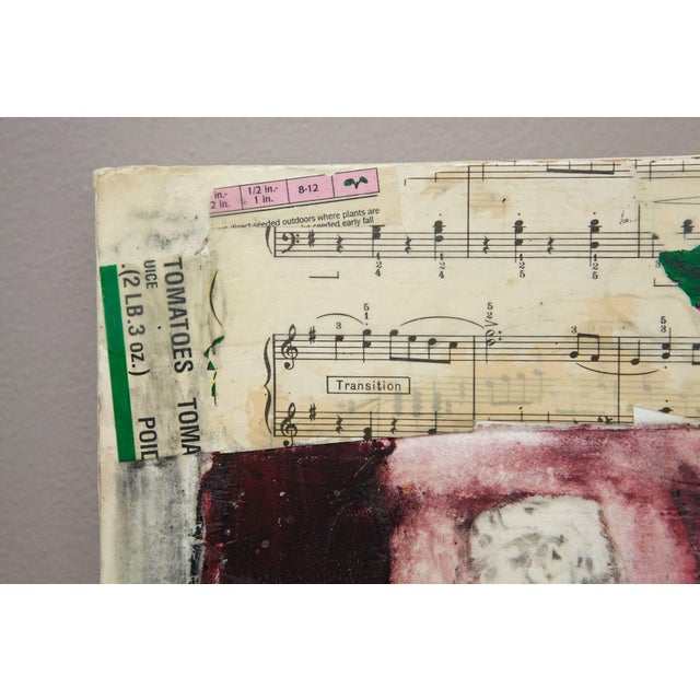 Mixed Media. Collage on wood board, ink, crayon, found objects, encaustic. Signed lower right, sticker on back with title,...