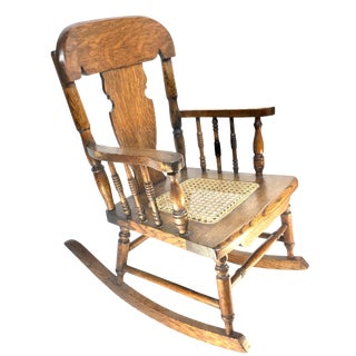 Tiger Oak Childrens Rocking Chair, Cane Seat, 1890-1920 For Sale