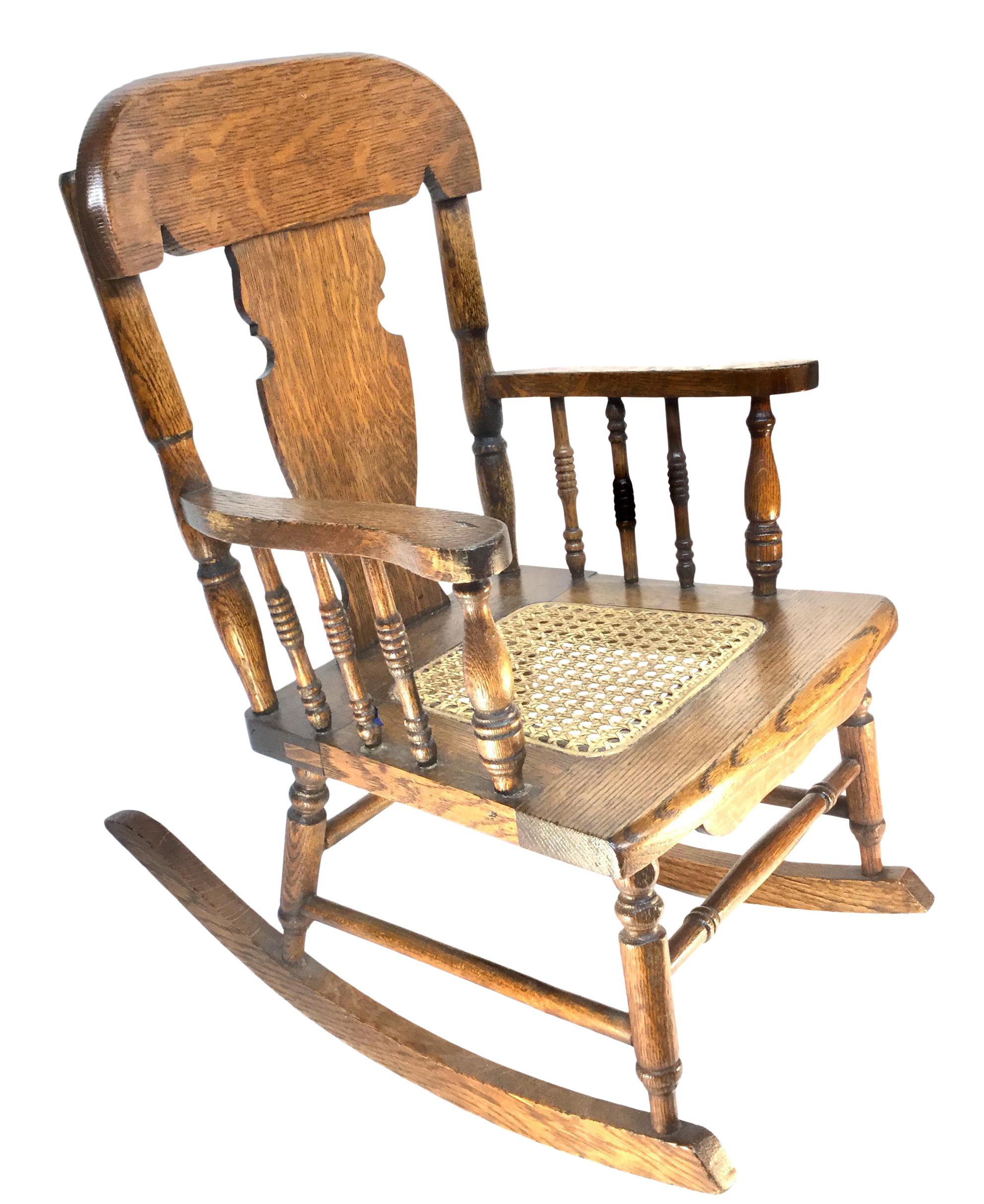 Tiger Oak Childrens Rocking Chair, Cane Seat, 1890 1920 For Sale