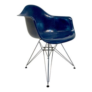 Mid Century Modern Eames for Herman Miller Ultramarine Blue Molded Fiberglass Armchair For Sale
