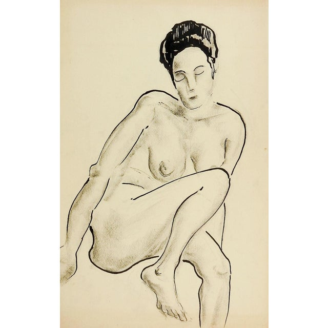 Country 1960's Nude Female Study Drawing For Sale - Image 3 of 3