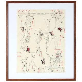 Modernist Abstract Ink Drawing, 1967 For Sale