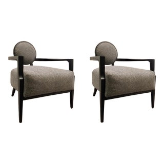 Caracole Modern Gray and Black Lounge Chairs Pair For Sale