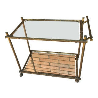 1960s Faux Bamboo Bar Cart For Sale