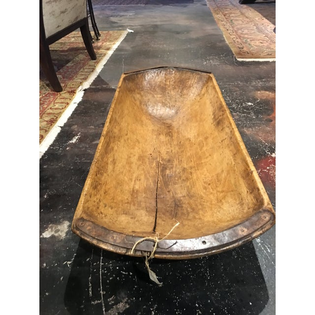 Brown Antique Wooden Dough Bowl For Sale - Image 8 of 13