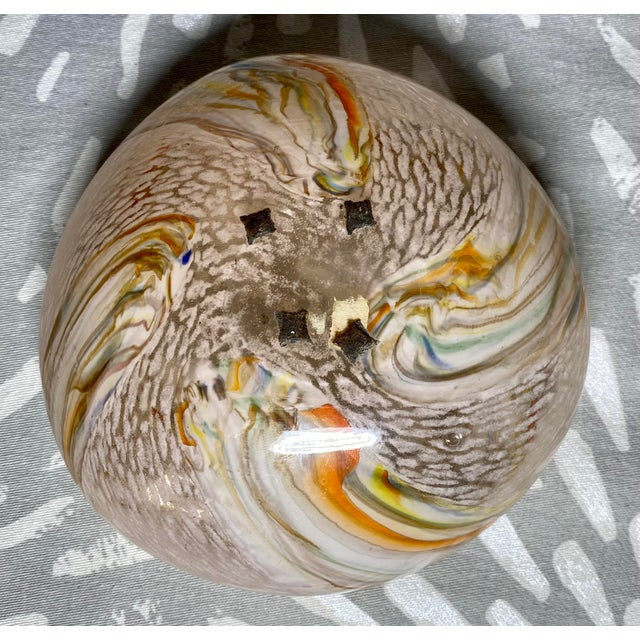 1960s Vintage Art Glass Rainbow Pink & White Catchall Decorative Bowl For Sale In Saint Louis - Image 6 of 7