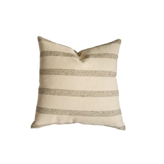 24x24 Remnant Stripe Wool Fabric Pillow For Sale