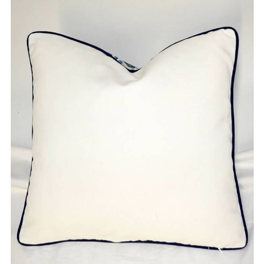 Art Deco Thibaut Printed Navy Blue With White Canvas Solid Back Pillow For Sale - Image 3 of 8