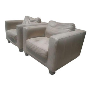 Natuzzi Square White Italian Leather Arm Chairs - a Pair