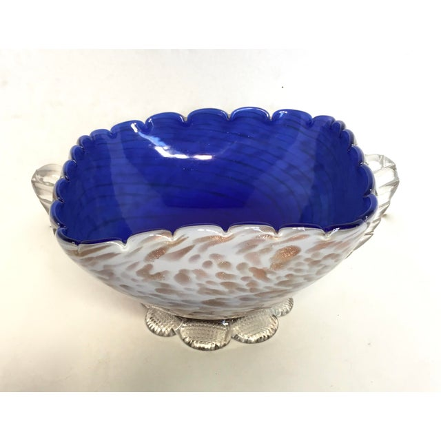 Blue & Gold Blown Glass Bowl - Image 4 of 8
