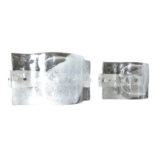 Italian Mazzega Wall Sonces of Cast Murano Glass In Clear and White - A Pair For Sale