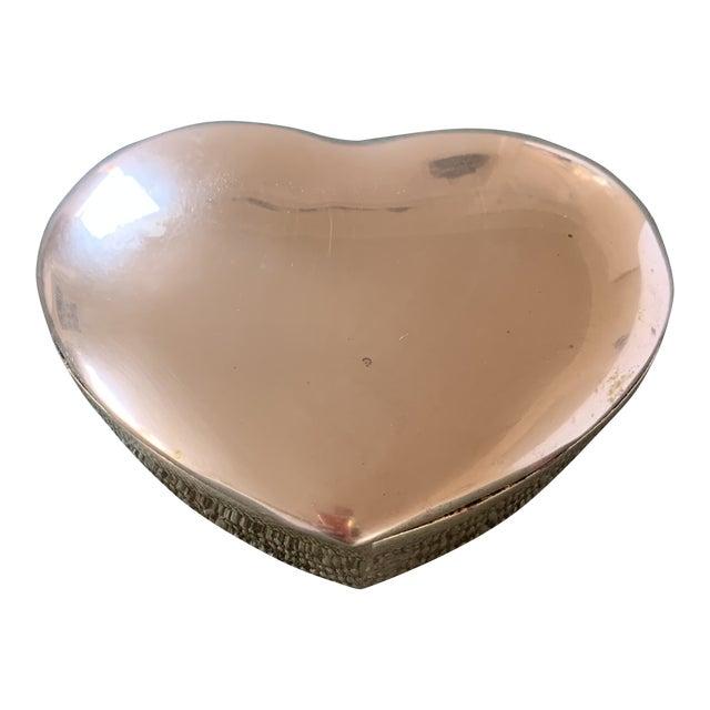 1950s Heart Brass Trinket Box For Sale