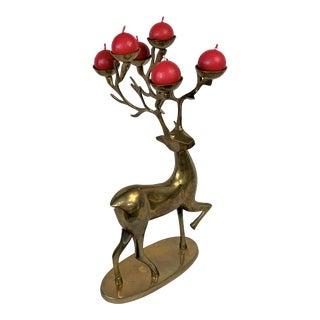 Vintage Brass Deer Candle Holder For Sale