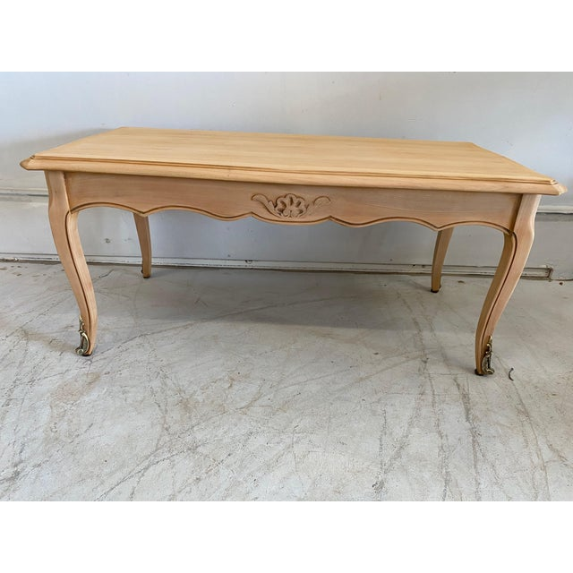 French Antique Coffee Table Louis XV Style With 2 Drawers Bleached For Sale - Image 11 of 11