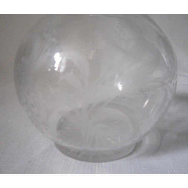 English Vintage Etched Glass Carafe For Sale - Image 3 of 7