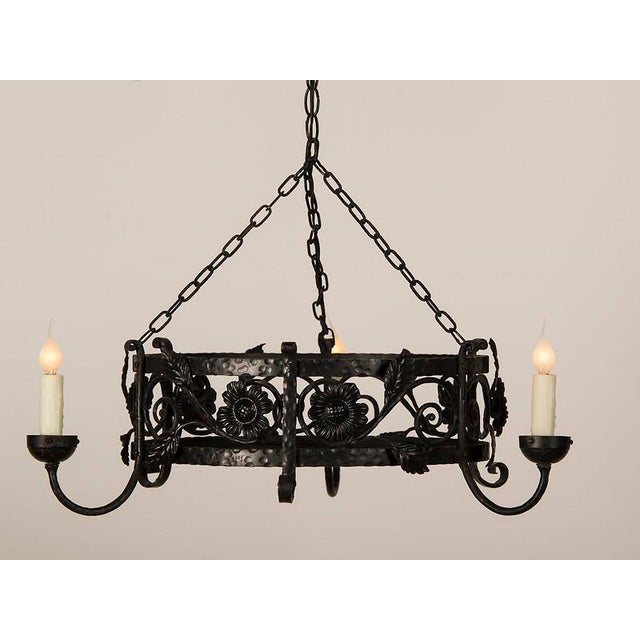 French 1930s French Floral Motif Large Three Light Circular Painted Iron Chandelier For Sale - Image 3 of 5