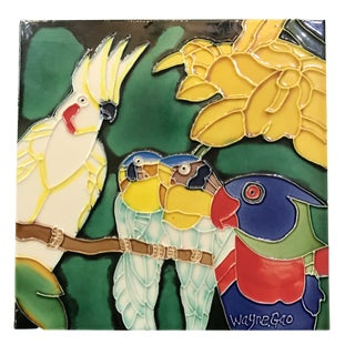 Late 20th Century Vintage Wayne Gao Parrots Ceramic Tile For Sale