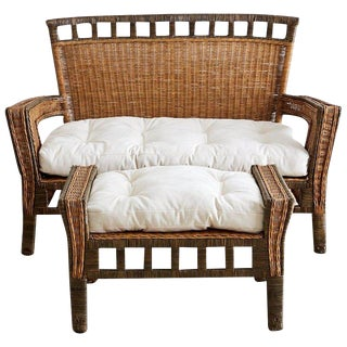 French Deco Style Rattan Wicker Settee and Ottoman For Sale
