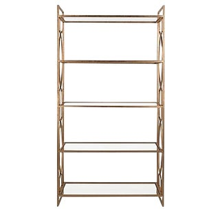 Transitional Safavieh Gold Leaf Etagere Bookcase For Sale