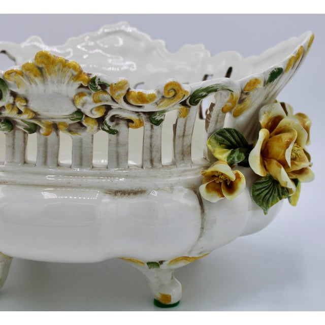 Rococo Italian Ceramic Footed Jardiniere For Sale - Image 3 of 13