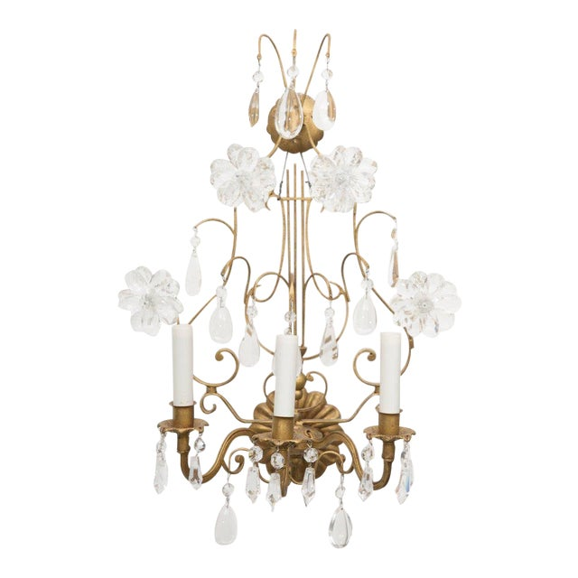 This romantic pair of lyre-form Italian electrified gilt metal sconces is softened by the application of glass flower-...