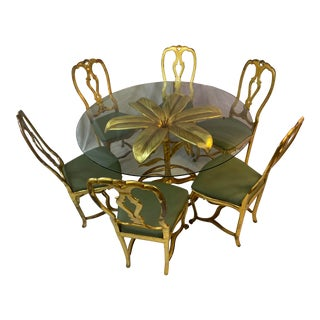 Hollywood Regency Drexel Arthur Court Gilded Lily Dining Table and Chairs - Set of 7 For Sale