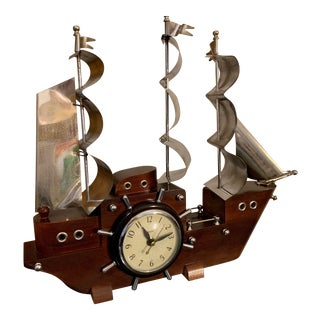 1960s United Mid Century Modern Yankee Clipper Clock For Sale