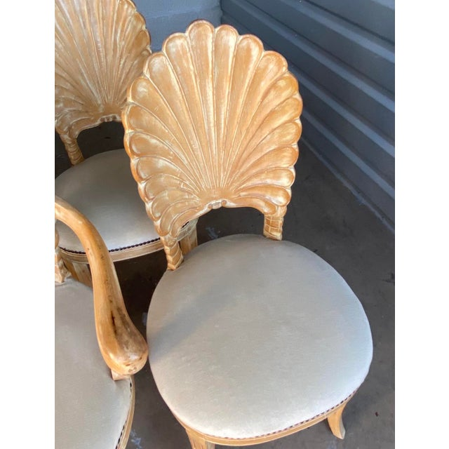 Vintage Hollywood Regency Hand Carved Grotto Chairs - Set of 4 For Sale - Image 4 of 7