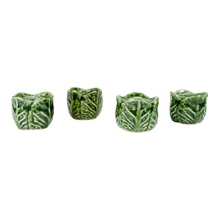 Bordallo Pinheiro Green Majolica Cabbage Salt and Pepper - Set of 2 For Sale