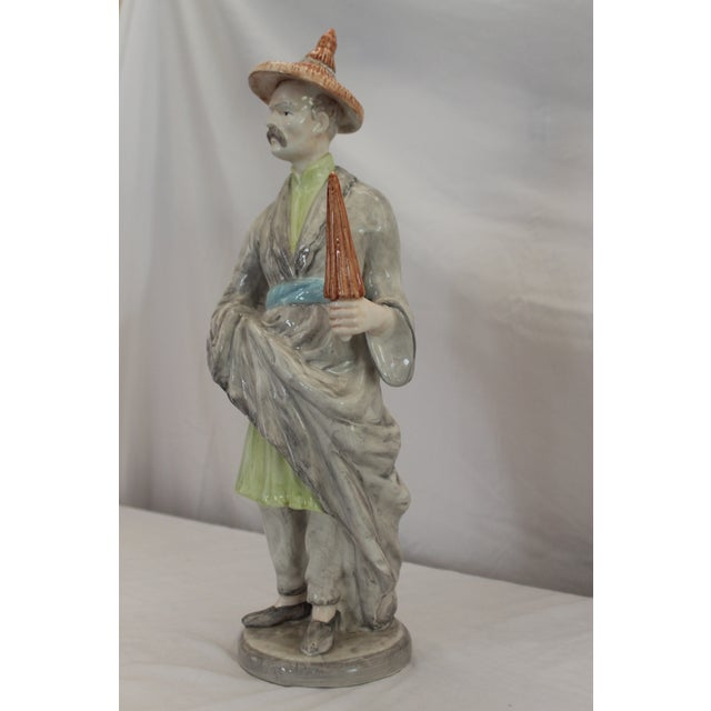 Chinoiserie Chinese Ceramic Male Figurine For Sale - Image 3 of 12