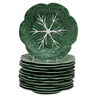 Majolica Cabbage Leaf Salad Plates - Set of 12 For Sale