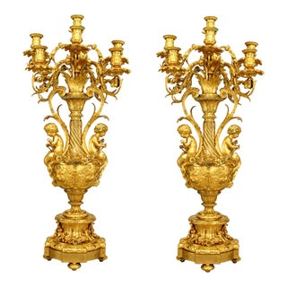 Pair of French Louis XV Style '19th Century' Urn Shaped Nine-Arm Candelabra For Sale
