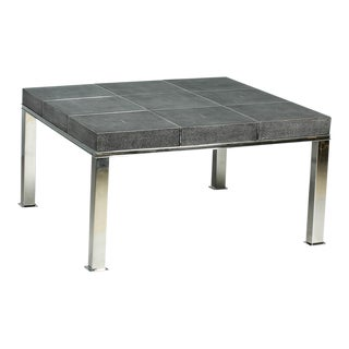 Grey Leather Shagreen 9-Panel Coffee Table For Sale