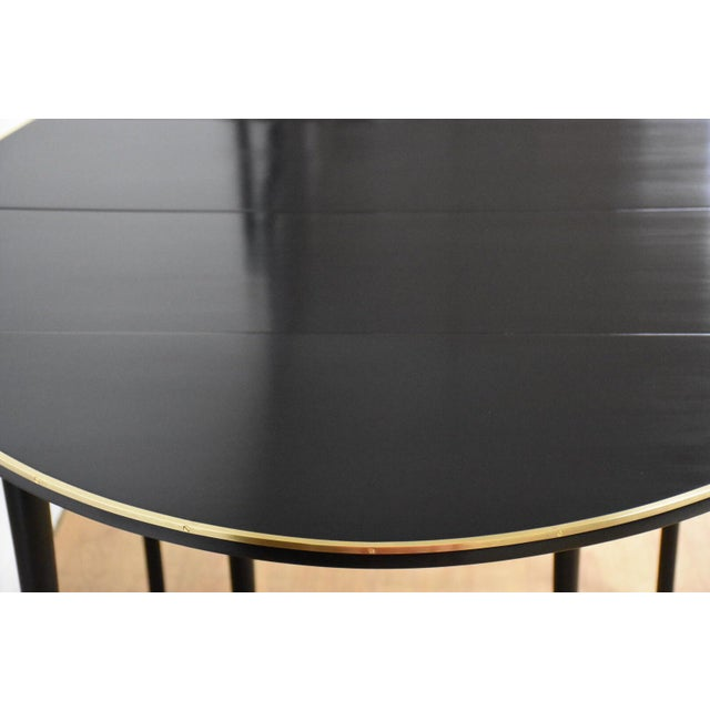 Paul McCobb Black Lacquer and Brass Dining Table For Sale In Boston - Image 6 of 11