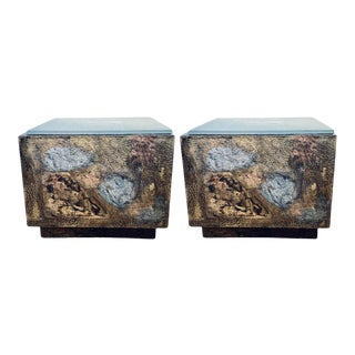 Paul Evans Style Box Form Coffee Tables Mid-Century Modern - a Pair For Sale