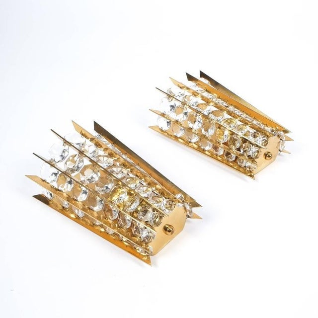 1950s Set of Five Crystal and Brass Sconces by Bakalowits & Sohne For Sale - Image 5 of 8