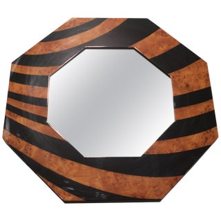 Mid Century Octagon j.c. Mahey Mirror Black Burl Lacquer, 1970s For Sale