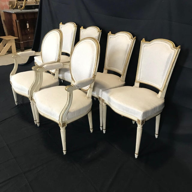 French Antique Painted Louis XVI Gustavian Style Dining Chairs -Set of 6 For Sale - Image 3 of 13