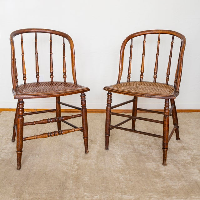 Brown 19th Century Vintage Cane Seat Spindle Back Windsor Primitive Bow Back Chairs For Sale - Image 8 of 13