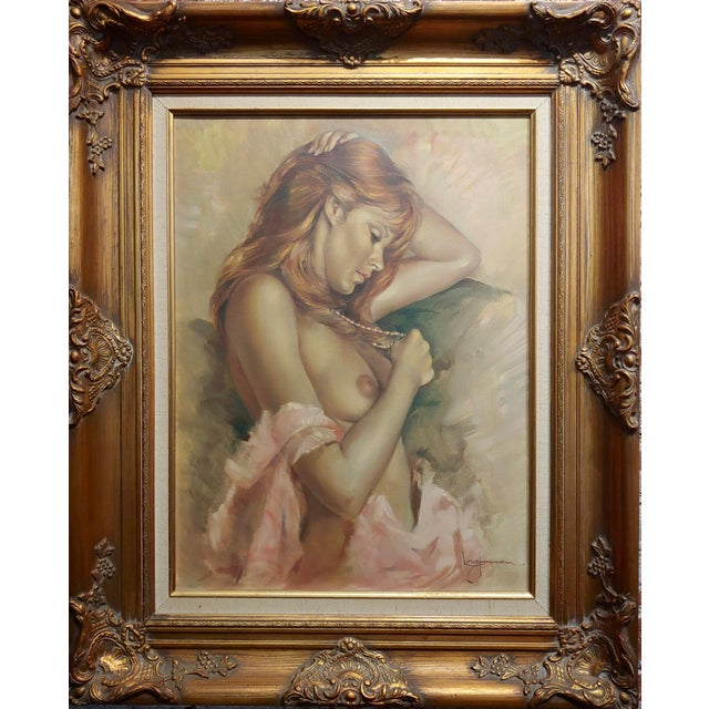 Leo Jansen -Portrait of a Beautiful Nude Red Headed - Oil painting oil painting on canvas -Signed circa 1970s frame size...